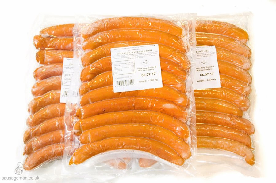 Cheese hot dogs wholesale UK suppliers and distributors The Sausage Man Packs of 10