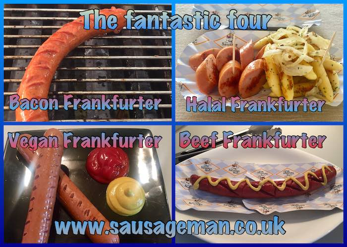 Bacon, Halal, Vegan and Beef Frankfurters