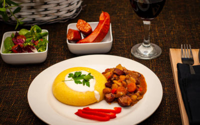Beans and Paprika Sausage Stew (with polenta)