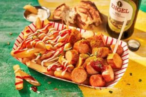Chopped VW Currywurst With Chips and Sauces