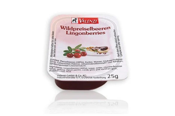 small packet of lingonberry jam