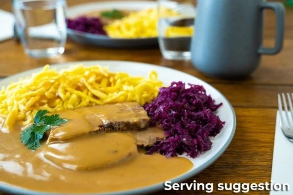 One plate of Kalbsrahmbraten Roast Veal Ready Meal