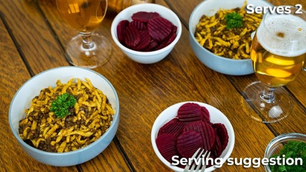 Two Bowls of Lentil Ragout with Beetroot and Beer