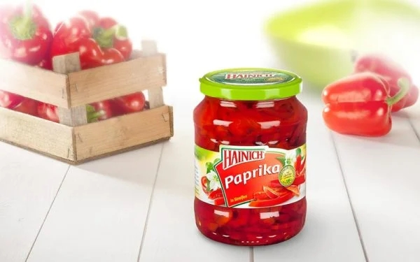 A Jar of Hainich Paprikasalat, Pickled Red Peppers in Brandy Vinegar