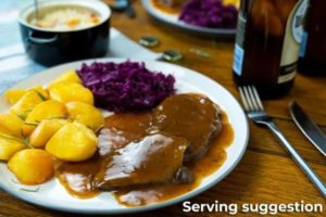 Sauerbraten in Gravy with Potatoes and Cabbage