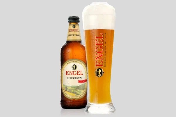 Engel wheat beer in a bottle and glass