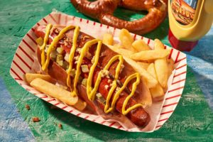A Vienna Beef Frankfurter with Chips and Mustard