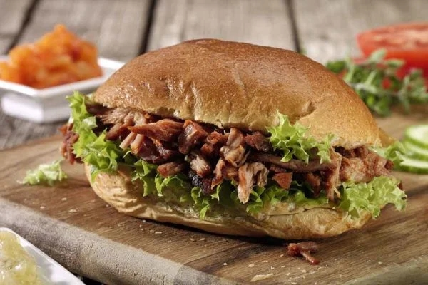 Slow-cooked Pulled Pork and Lettuce in a Bun