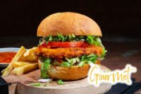 Serving Suggestion For Gourmet Chicken Burger